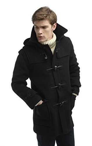 Wool Duffle Coat (Mens London Luxury Duffle Coat -- (38, Navy))