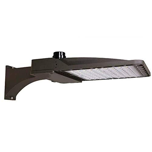 100w LED Shoebox Area Light Parking Lots Lighting Outdoor Street Pole Lamp Stadium Flood Lights Type III Distribution 13500LM 5000k Daylight Brown Housing Arm Mount ETL DLC(100w New Gen, Direct Mount)