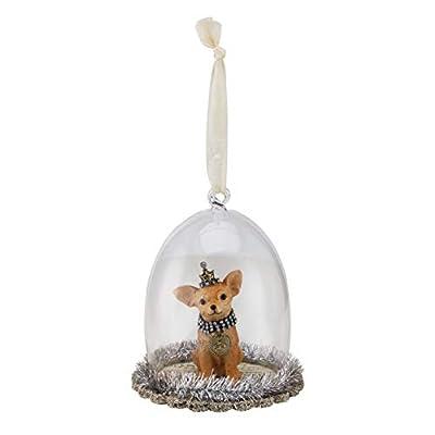 DEMDACO-Chihuahua-Cloche-Silver-Tone-5-x-4-Resin-Stone-Christmas-Figurine-Ornament
