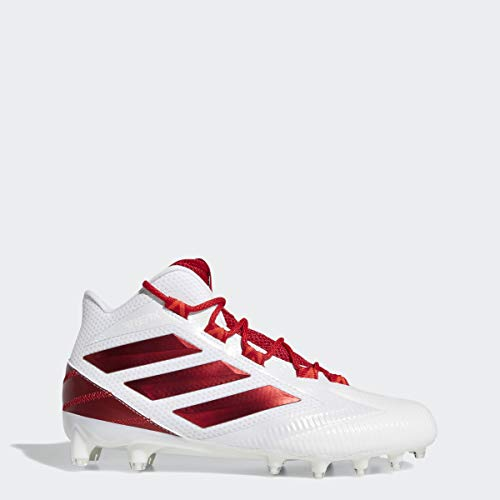 adidas Men's Freak Carbon Mid Football Shoe, White/Power Active Red, 9 Medium US