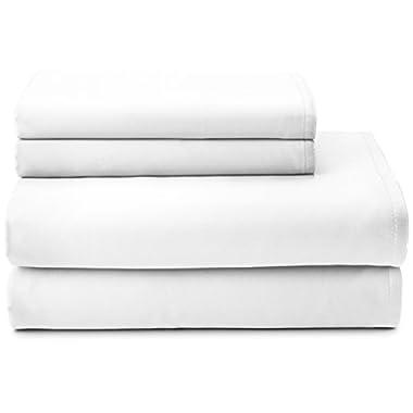 Calvin Klein Home Edge Stitch Sateen Sheet Set, Queen, White