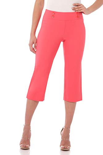 Rekucci Women's Ease In To Comfort Fit Capri with Button Detail (18,Coral)