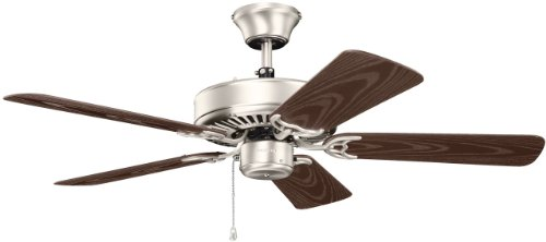 Kichler Lighting 414NI Basics Patio 42-Inch Damp Rated Ceiling Fan, Brushed Nickel Finish with Brown Abs Blades