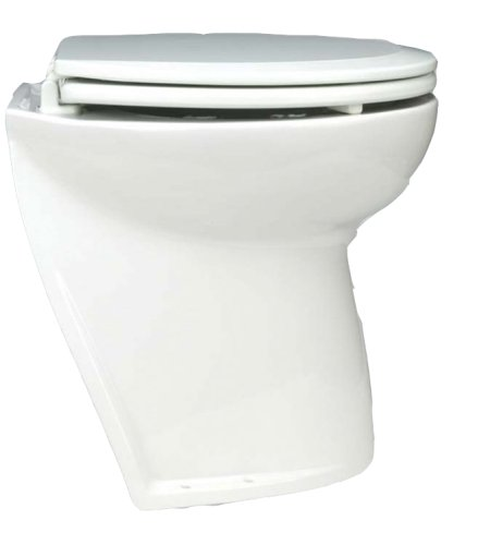 24v Electric Toilet - Jabsco 58220-1024 Deluxe Flush Marine Head, 17 inch Electric Marine Toilet, Angled Back, Raw Water Rinse, 24 Volt