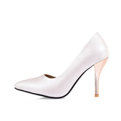 VogueZone009 Womens Closed Pointed Toe High Heel Stiletto PU Soft Material Solid D-orsay Pumps, White, 4.5 UK