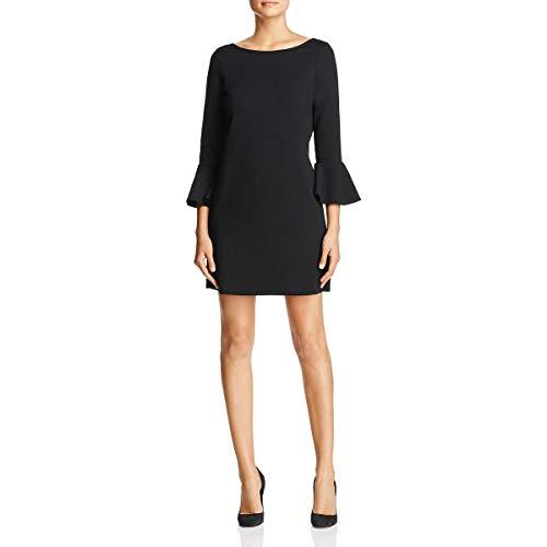 Three Dots Women's Ponte Shift Loose Short Dress, Black, Small
