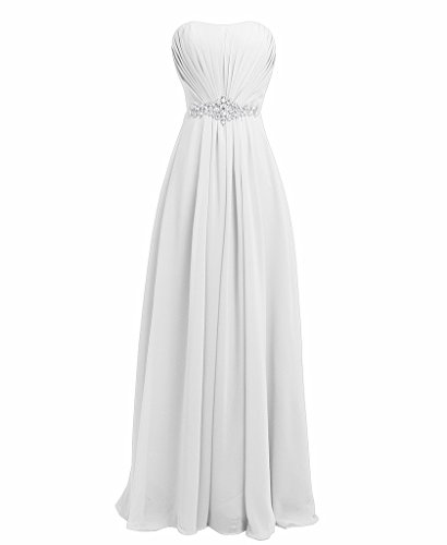 (FAIRY COUPLE Women's Strapless Rhinestone Bridesmaid Party Wedding Dresses D004 US6 White)