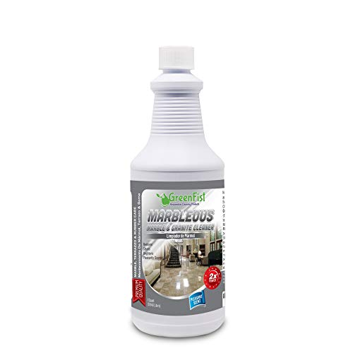 (GreenFist Marbleous Marble Cleaner and Other Stone Surfaces Brightener & Restorer [Tile,Countertop,Porcelain,Lime-Stone,Ceramic,Granite,Brick,Vinyl], 1 Quart (32)