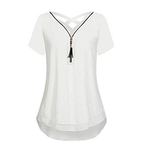 OrchidAmor Women Loose Office 2019 Printer Chiffon Short Sleeve Tank V-Neck Zipper Hem Scoop T Shirts Tops White