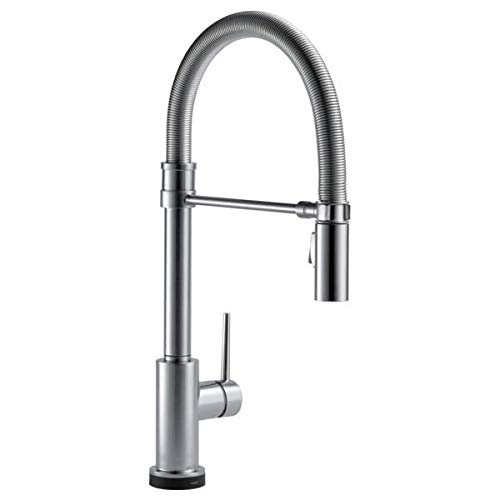 Delta Faucet Trinsic Pro Single-Handle Spring Spout Touch Kitchen Sink Faucet with Pull Down Sprayer, Touch2O Technology and Magnetic Docking Spray Head, Arctic Stainless 9659T-AR-DST