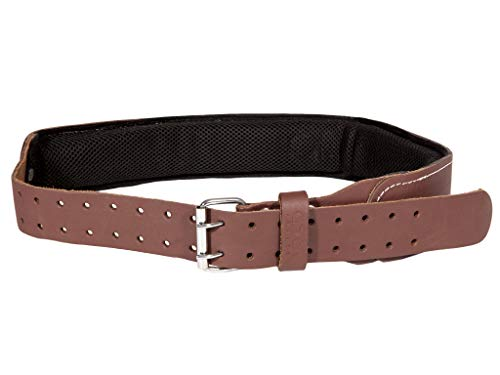 (Leather Gold Tool Belt Leather | Padded 3 Inch Tool Belt | Genuine Grain Leather Work Belt 2107 with Double Prong Buckle and 2 Hole Rows | Comfortable Mesh and Foam Padding | Built Tough)