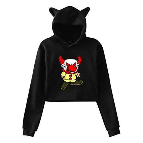Evil Clown,Cat Ear 3D Printed Pullover Hoodie Sweater,Long Sleeve Buttery Soft Short-Length Jacket Womens Sexy Stylish Hoodie Sweater Girls Cute Hoodies