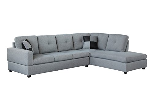 Legend 3 Piece Microfiber Right-Facing Chaise Sectional Sofa Set with Free Storage Ottoman Gray