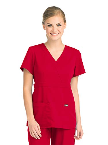 Grey's Anatomy 4153 Women's Mock Wrap Top Scarlet Red L
