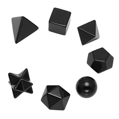 PESOENTH Black Obsidian Platonic Solids Sacred Geometry Set Obsidian Tumbled Gemstones Crystals Worry Palm Stones Kit for Chakra Reiki Healing Energy,Yoga Meditation,Wicca,Therapy ()