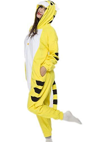 Unisex Animal Halloween Yellow Tiger One-Piece Pyjamas Jumpsuit Cosplay Costumes Adult Womens Men Small