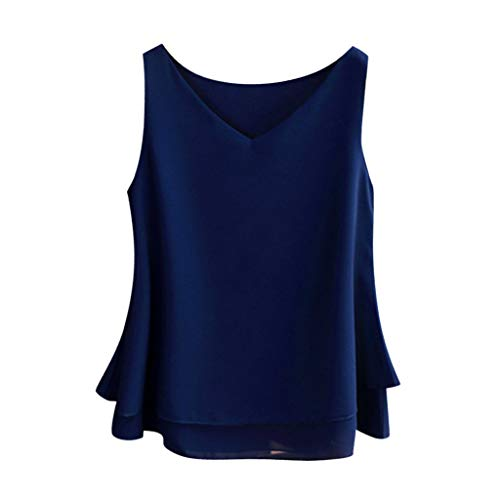 Sanyyanlsy Fashion Women's Sleeveless Chiffon V-Neck Vest Layed Ruffled Solid Color Top T-Shirt Casual Loose Tank Top ()