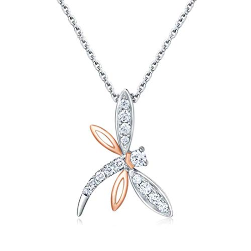 Carleen 18k Solid White Gold 0.11ct Diamond Dragonfly Pendant Necklace for Women Girls, 16