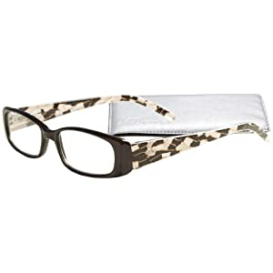 """Fancy Pattern Temples"" Women's Reading Glasses with Soft Case By ICU (2.75, Black)"