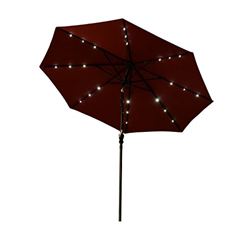 Outsunny 8.5′ Solar LED Market Patio Umbrella (Wine Red) Review