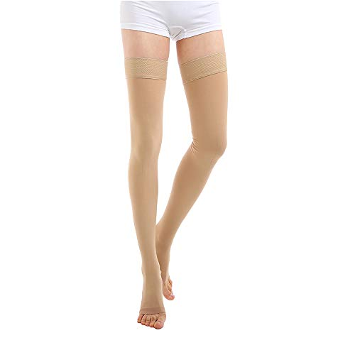 Medical Thigh High Compression Stockings 20-30 mmHg, Opaque Open Toe Compression Socks Firm  Support Graduated Compression Hose With Silicone Band Treatment Surgery,Edema,Nursing,Varicose Veins