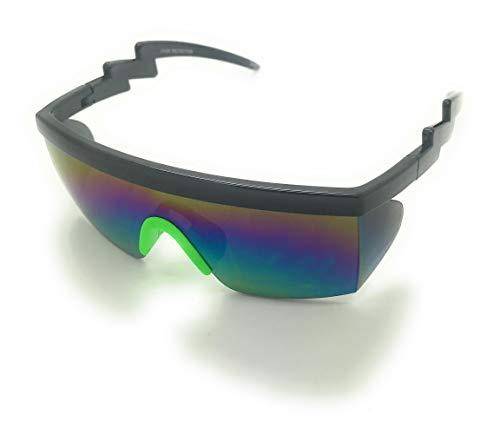 Retro Rainbow Mirrored Lens ZigZag Sunglasses 80's Neon Semi Rimless Style (Black/Green)]()