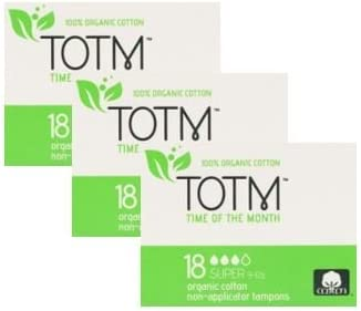 Tres paquetes de 18 tampones de algodón orgánico sin aplicador ...