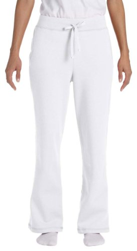 Gildan womens Heavy Blend 8 oz. 50/50 Open-Bottom Sweatpants(G184FL)-WHITE-L (8 Oz Sweatpant)