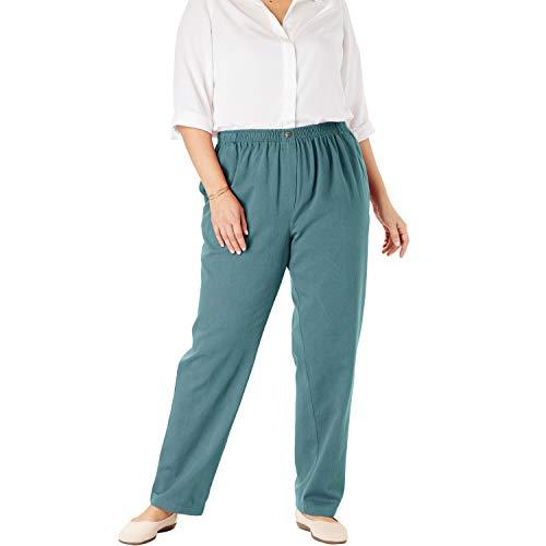 (Woman Within Women's Plus Size Elastic-Waist Cotton Straight Leg Pant - Rainforest Green, 24 W)
