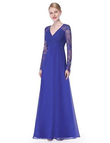 Sapphire Evening Gown - Ever-Pretty Womens Long Lace Sleeve Empire Waist Military Ball Dress 6 US Saphire Blue