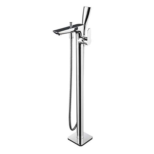 BILLY'S HOME Floor Mounted Standing Bathtub Faucet, Chrome Bath Shower Mixer taps, Contemporary Chrome Widespread tub Filler Faucet with Handheld Shower Head Ceramic Valve