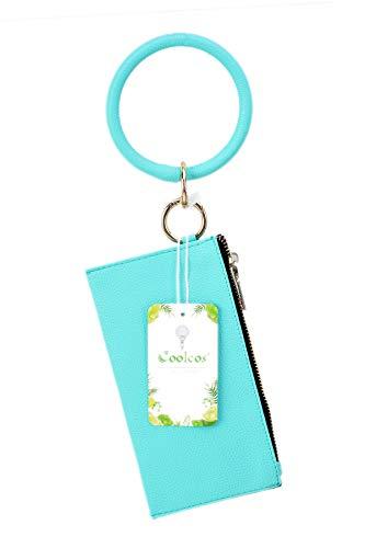 Coolcos Bracelet Bangle Keychain Keyring Leather Zipper Clutch Purses Wallet Bag Combo for Women Girls (Big Bangle Clutch Turquoise Blue)