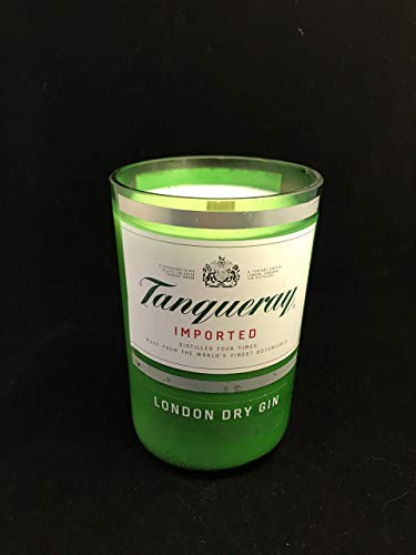 Mandarin Melon Scented 16 Oz Soy Candle Limited Edition Repurposed Tanqueray Bottle Vegan