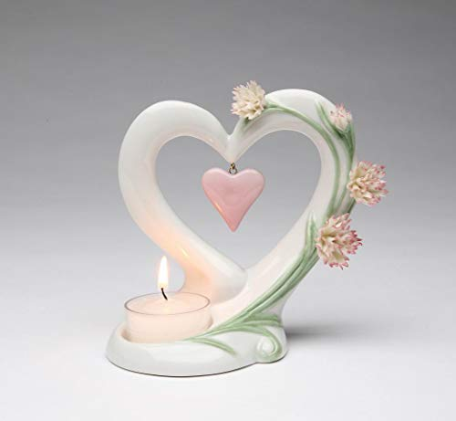 Cosmos Gifts Fine Porcelain Carnation Flower with Heart Shape Frame Design with Dangling Pink Heart Tea Light Candle Holder, 5