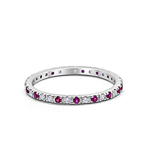 Blue Apple Co. 2mm Stackable Full Eternity Wedding Band Ring Round Alternating Simulated Ruby & Cubic Zirconia 925 Sterling Silver, ()