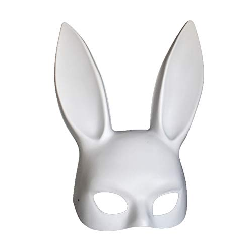 (Soochat White Bunny Mask Masquerade Rabbit Mask Bunny Half Mask for Birthday Party Easter Halloween Costume)