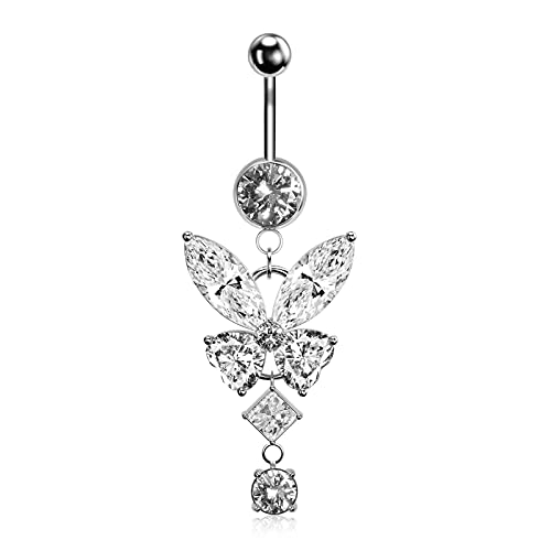 UHIBROS Butterfly Dangle Belly Button Rings 316L Surgical Steel Belly Rings,14G Belly Button Ring Dangling CZ Belly Piercing Jewelry For Women