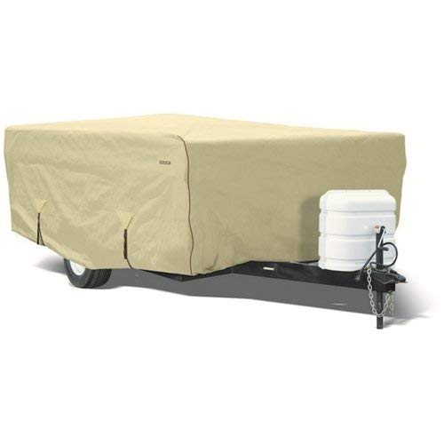 Goldline Pop Up Camper Covers by Eevelle   Waterproof Fabric   Tan and Gray (14-16 Feet, Tan)