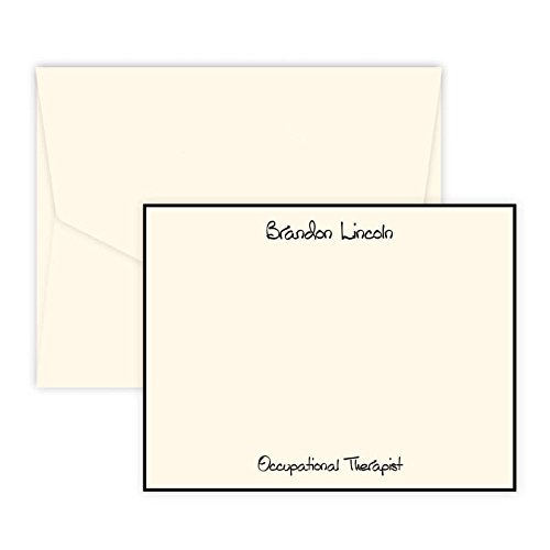 Personalized Raised Ink Stationery Flat Cards with Black Border