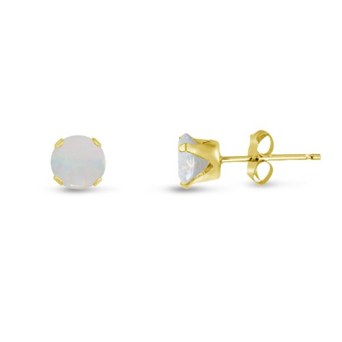 Round 3mm 14k Gold Plated Sterling Silver Genuine Opal Stud Earrings, Free Gift Box (14k Opal Jewelry Box)