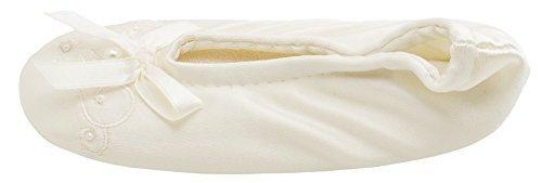 Isotoner Satin Pearl Ballerina Girl's Slippers Ivory Medium 13-1