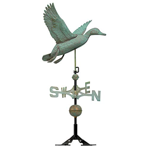 Whitehall Products Copper Duck Weathervane, Verdigris - Whitehall Products Duck