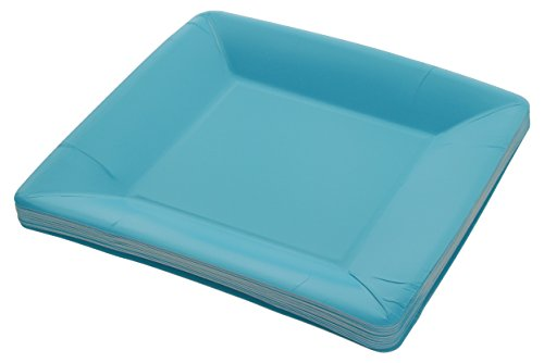 Blue Square Luncheon Plate - Amcrate Light Blue Disposable Party Paper Shimmer Square 7