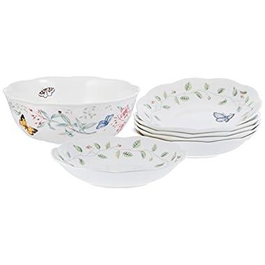 Lenox Unisex Butterfly Meadow 7 Piece Pasta/Salad Set White Dinnerware