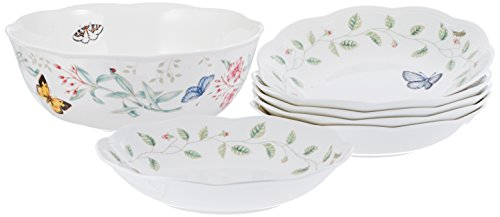 Lenox Butterfly Meadow 7 Piece Pasta/Salad Set White - Butterfly Meadow Chip