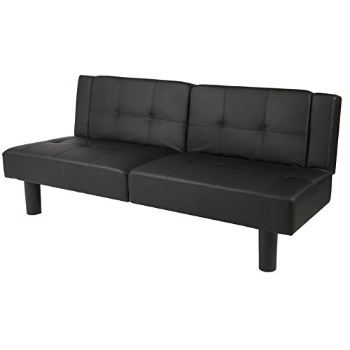 LTL Black Leather Convertible Faux Fold Down Futon Sofa Bed Couch Sleeper Furniture - South Outlets Vegas Las