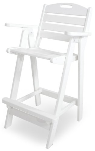POLYWOOD NCB46WH Nautical Bar Chair, White by POLYWOOD