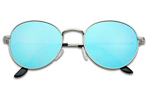 SunglassUP - Colorful Classic Vintage Round Flat Lens Lennon Style Sunglasses (Silver Frame | Artic Blue, - Colorful Lenses
