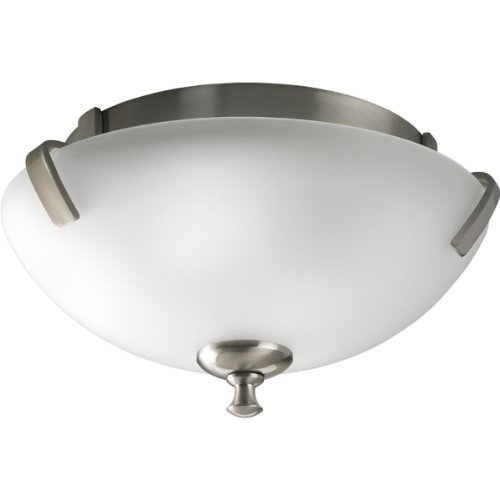 Progress Lighting P3290-09EBWB 2-Light Compact Fluorescent Close-to-Ceiling Fixture with Clear Etched Glass Using A GU24 Lamp, Brushed Nickel
