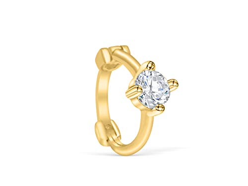 14K Solid Gold Jewelry Cz Open Round Circle Tragus Cartilage Snug Rook Daith Helix Ear Segment Clicker Hoop Ring Piercing Earring For Women